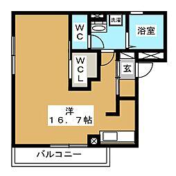 D-room石兼 2階ワンルームの間取り