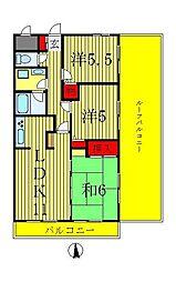 エクセレンス松戸壱番館[6階]の間取り