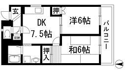 大阪府池田市渋谷3丁目の賃貸マンションの間取り