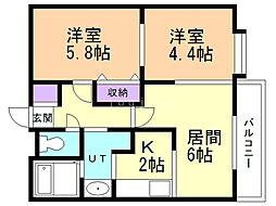 小田ビルグランドパレス 1階2LDKの間取り