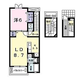 静岡県浜松市南区御給町の賃貸アパートの間取り