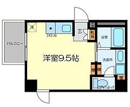 シーサ 7階ワンルームの間取り