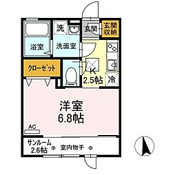JR仙石線 中野栄駅 徒歩23分の賃貸アパート 1階1Kの間取り