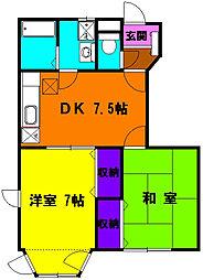 静岡県浜松市中区森田町の賃貸アパートの間取り