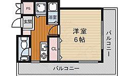 Lits箕面 3階1Kの間取り