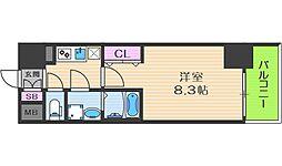 Osaka Metro中央線 阿波座駅 徒歩5分の賃貸マンション 10階1Kの間取り