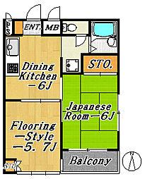 第3コーポマキ[7階]の間取り