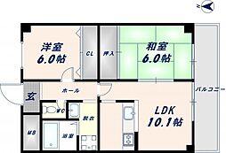 カサ・ルシェロ 6階2LDKの間取り
