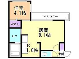 Lunon Sapporo Sta. 4階1LDKの間取り