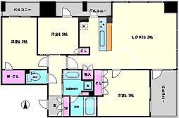ワコーレ大阪新町タワーレジデンス 16階3LDKの間取り