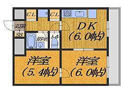 ボンシェール堺[1102号室]の間取り