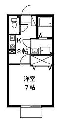 神奈川県横浜市青葉区荏田北1丁目の賃貸アパートの間取り