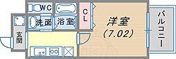 阪急神戸本線 春日野道駅 徒歩4分の賃貸マンション 3階1Kの間取り
