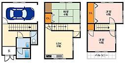 南海高野線 萩原天神駅 徒歩30分の賃貸一戸建て 1階3LDKの間取り