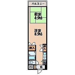 プレジール若竹[402号室]の間取り