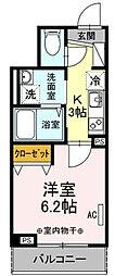 東京都大田区東糀谷1丁目の賃貸アパートの間取り