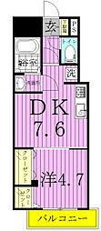 クレスト・ソナ 4階1DKの間取り