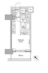 ザ・パークハビオ月島フロント 2階ワンルームの間取り