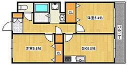 六甲サンピナコテカ 3階2DKの間取り