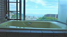 温泉が引き込まれている浴室は、浴槽からも眺望をお楽しみいただけるビューバス仕様になっています。
