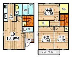 八幡町メゾネット[2階]の間取り