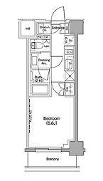 ザ・パークハビオ西大井 6階1Kの間取り