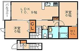 JR香椎線 新原駅 徒歩14分の賃貸アパート 2階2LDKの間取り