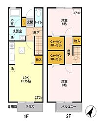 [テラスハウス] 東京都国分寺市東恋ヶ窪5丁目 の賃貸【/】の間取り