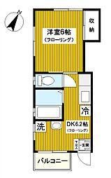 神奈川県横浜市保土ケ谷区星川2丁目の賃貸アパートの間取り