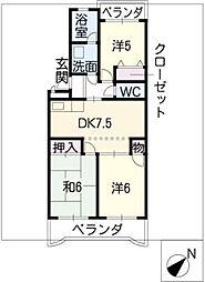 リバーパークマンション[3階]の間取り