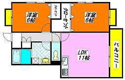 マリオン・稲田 2A号室[2階]の間取り
