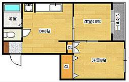 広島県広島市中区舟入南3丁目の賃貸マンションの間取り