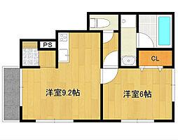 梅満町1号棟アパート 1階1LDKの間取り