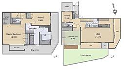 約21.3帖の広々LDKには吹抜けでさらに開放感をプラス。約11.9帖の寝室にはWICが付いています。