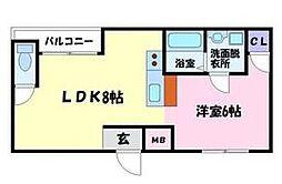 ラフィーネ1号館 1階1LDKの間取り