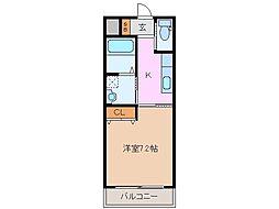 近鉄名古屋線 江戸橋駅 徒歩10分の賃貸マンション 1階1Kの間取り