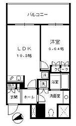 セントラルパークタワー ラ・トゥール新宿 14階1LDKの間取り