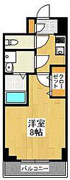 京都府京都市伏見区南部町の賃貸マンションの間取り