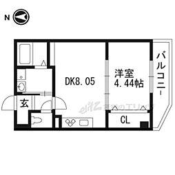 阪急京都本線 桂駅 徒歩8分の賃貸マンション 1階1DKの間取り
