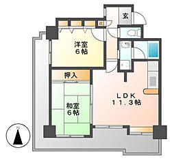 愛知県名古屋市昭和区円上町の賃貸マンションの間取り