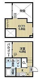 愛知県名古屋市西区二方町の賃貸アパートの間取り