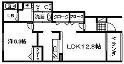 大阪府貝塚市三ツ松の賃貸アパートの間取り