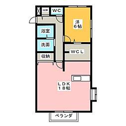 ハウス八重桜[1階]の間取り