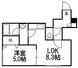 北海道札幌市白石区菊水七条2丁目の賃貸アパートの間取り