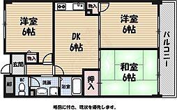 新森グレイス 4階3DKの間取り
