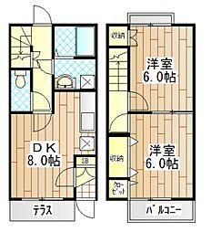[テラスハウス] 神奈川県厚木市温水西1丁目 の賃貸【神奈川県/厚木市】の間取り
