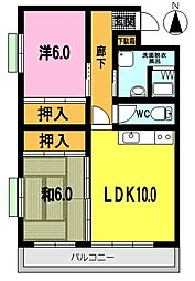 東佐賀マンション[201号室]の間取り