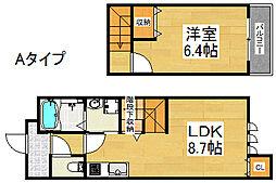 ツインフォレスト住之江I番館 1階1LDKの間取り