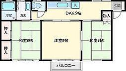 メゾンナカノ[201号室]の間取り