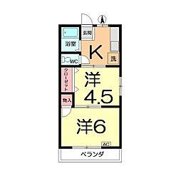 シティハイム456 A棟[201号室]の間取り